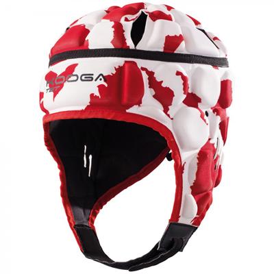 Kooga Rugby Headguard Maverick Zebra Print Red/White Scrumcap
